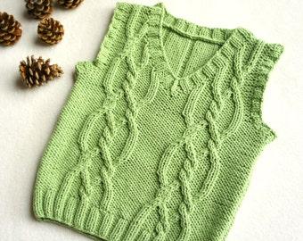Baby knit vest, hand knitted baby top, boy's vest, knit cable children's tank, aran vest