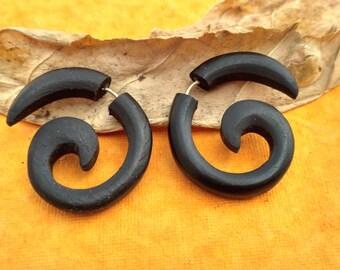 Tibetan Wooden Handmade Tribal Black Wood Fake Gauge Stud Earring WER265