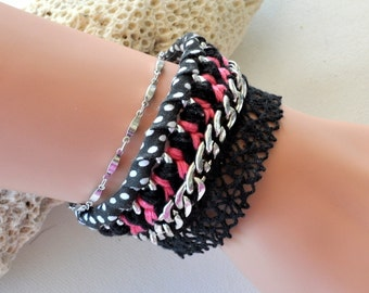 Pink and black cuff with liberty chain and lace