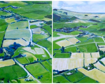 Two Original Paintings on Canvas, aerial landscapes, green wall art, diptych, farms, rural scene, free shipping