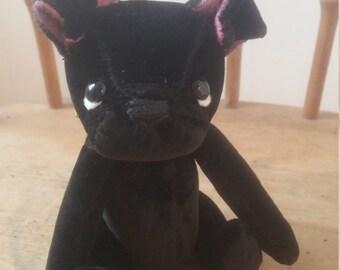 Handmade from Vintage Black Velvet Pug