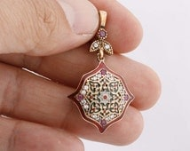 Motif Turkish Handmade Hurrem Rolexana Ruby Topaz 925 Sterling Silver Pendant