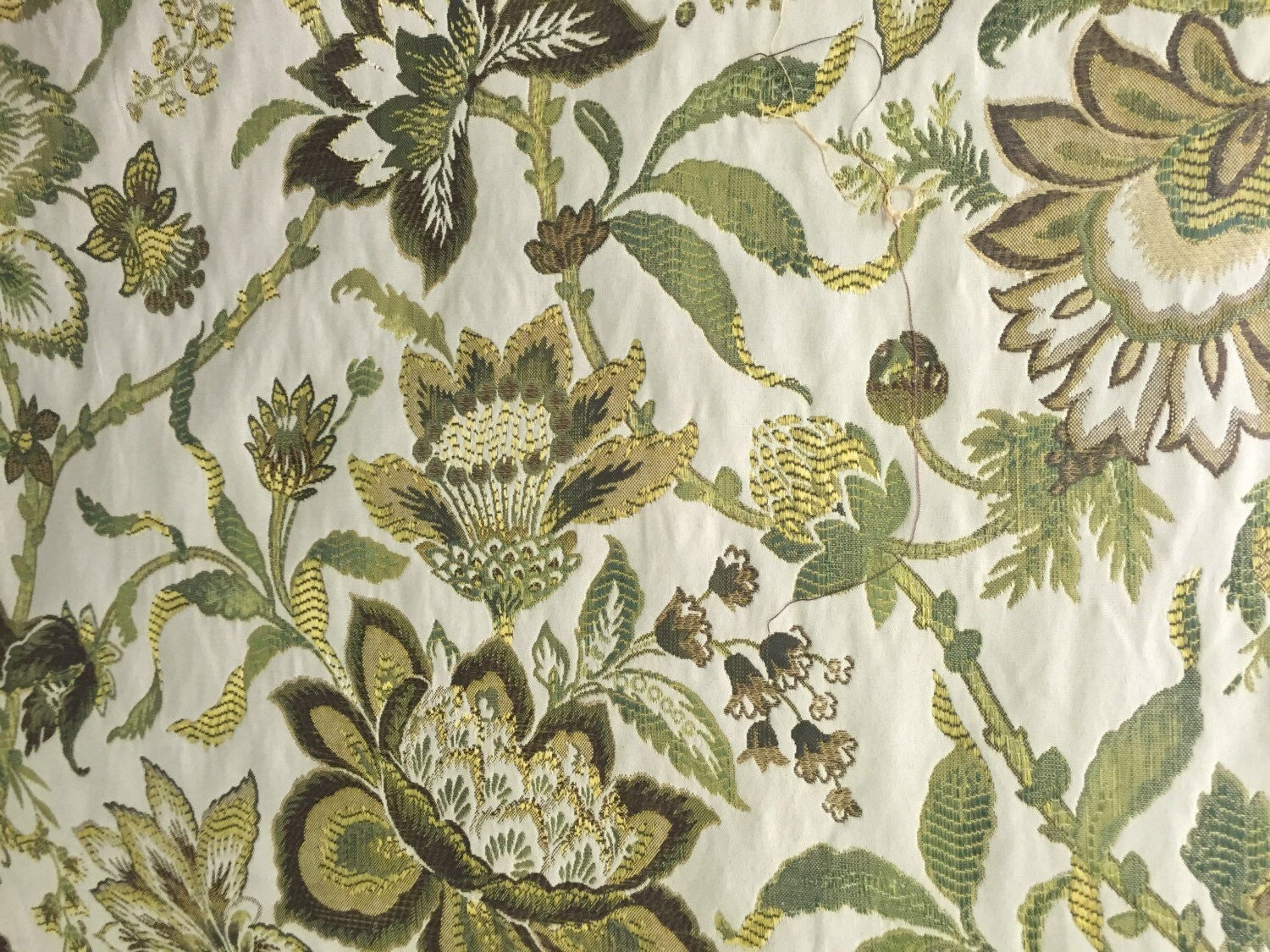 Green and Brown Jacobean Upholstery Fabric Upholstery Fabric