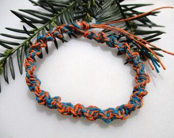Turquoise and Orange, Hemp Necklace, Hemp Bracelet, Hemp Anklet, Unisex Hemp Jewelry