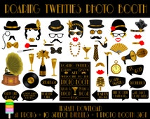 Roaring Twenties Photo Booth Props– 52 Pieces (41 Props,10 Speech Bubbles,1 Photo Booth Sign)-Music,Flapper Girl,1920 Props-Instant Download