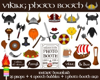 Viking Photo Booth Props-31 Pcs (26 props, 4 speech bubbles, 1 photo booth sign)-Viking Party-Printable Viking Photo Props-Instant Download