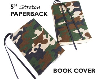"""Book Sleeve for Paperback Books CAMOUFLAGE 5"""" Trade Size, Stretch Fabric Book Cover, Book Jacket, Book Pouch, Camo Book Cover, Book Buddy"""