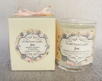 Scented Soy Candle, Joy, Bergamot, Grapefruit & Ylang Ylang, Pure Essential Oils