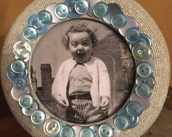 Sweet Silver and Blue Round Photo Frame.