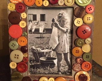 Fall colors photo frame embellished with vintage buttons.