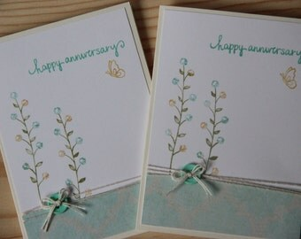 Anniversary Card.  Happy Anniversary Card.  Flower Anniversary Card.  Blank Anniversary Card.  Wedding Anniversary Handmade Greeting Card