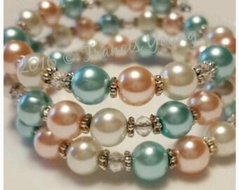 Coral/Mint/White Memory Wire Bracelet