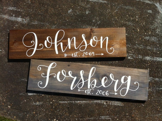 Last name calligraphy sign on wood family wall