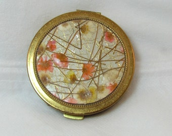 Vintage Zell 5th Avenue Flower Powder Compact, 1950's. 5J-1182.*FREE SHIPPING*