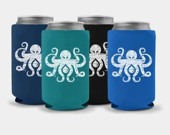 Inktopus Collapsible Can Coolers - Nautical Octopus