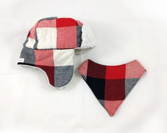 Baby & Toddler Trapper Hat With Bandana Bib - Red Plaid Bomber Hat - Aviator Hat - Lumberjack Hat - Hipster Baby Hat - First Birthday Gift