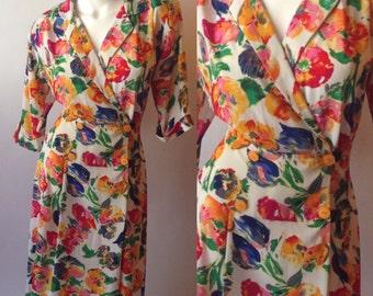 80s Zeeba Bright Floral Dress