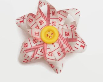 Upcycled Tape Measure Red and White Daisy Flower Hair Clip, Unique Hair Accessory