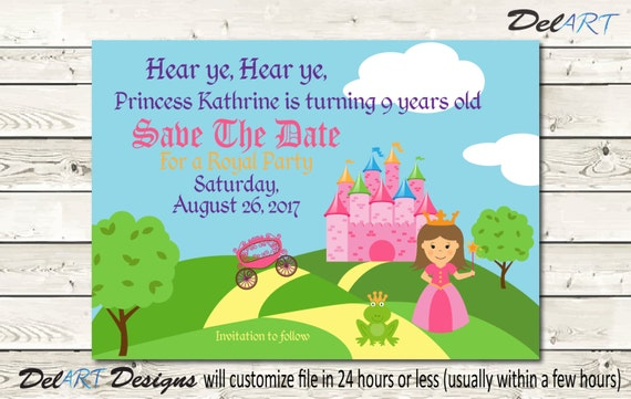 Items similar to Princess Party Save the Date Birthday Party
