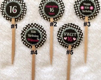 Set Of 12 Personalized 16th Birthday Party Polka Dot Chevron Cupcake Toppers