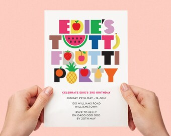 Tutti Fruitti Bright Kids Party Invite First birthday Baby Girl Colourful 1st 2nd 3rd 4th 5th Printable Fruit Salad Tropical Watermelon