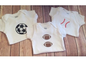 Sports Onesie 3 Pack, Football Onesie, Baseball Onesie, Soccer Onesie, Boys Baby Shower Gift, Newborn Boy Gift Set
