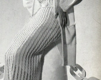 "Vintage 30's Knitted Dress & Coat Ensemble PDF / Minerva Paris Book Volume No. 40 1935 ""TOURAINE"""