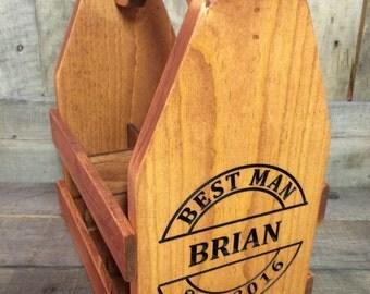 Personalized Wood Beer Caddy-Beer Carrier-Beer Caddy-bottle opener circle monogram