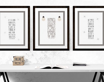 Set of Three Dumbledore Quote Prints - Harry Potter Quote Poster -Albus Dumbledore-  (Available In Many Sizes)
