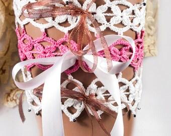 Wedding garter, crochet bridal garter, lace garter, toss garter, garte by LoveKnittings