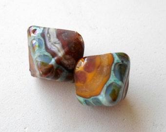 Lampwork Beads, Lampwork Bead pair, Hexagon Glass Beads, Etched Beads, OOAK handmade Earring Components, Handmade Beads Jewelry Supplies
