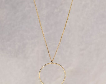 Karma Necklace/Gold Circle Necklace/Hammered Gold Circle Necklace/Eternity Necklace/Mixed Metal necklace