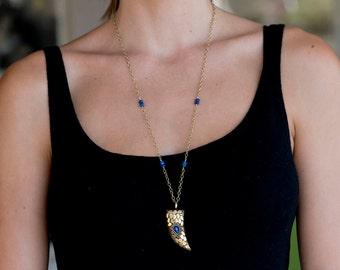 Lapis Lazuli Horn Necklace/Bohemian Tibetan Horn Necklace with Blue teardrop & blue Lapis Lazuli stones/Tibetan Tusk pendant necklace