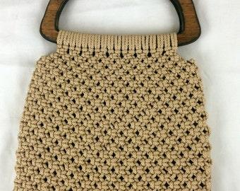 Macrame Knotted Cord Vtg Purse Handbag Wood Handles Beige Lined EUC Boho Hippie