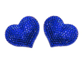 2 pcs Set Refrigerator magnets - Dark Blue - Handmade Fully Rhinestones Blinged Out Heart  - Rhinestone Bling Bling Unique Gifts Idea