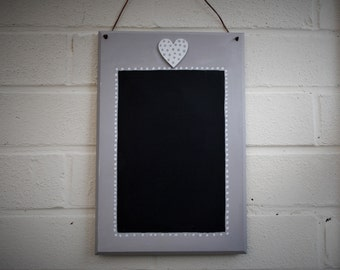 Handmade wood chalkboard memo board reminder home decor grey with heart