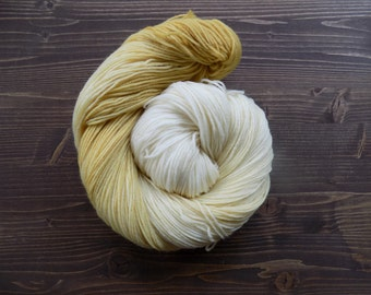 Hand Dyed Yarn, Hand Painted Yarn, MCN, Merino Cashmere Nylon, Gradient Yarn, Gold Cream