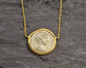Gold Necklace with Ancient Roman Coin (1700 years old)