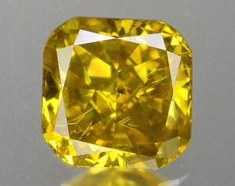 0.71 Ct Cushion Brilliant Excellent Fancy Intense Golden Yellow Natural Diamond