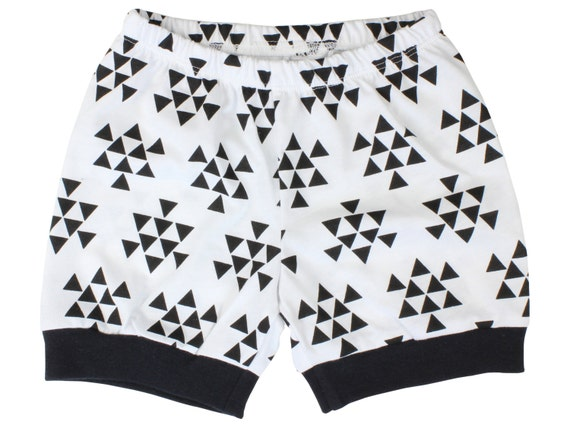 Baby Boy Shorts Black and White Triangle Unisex Shorts Triangle Toddler Shorts  Baby Leggings Triangle Baby Shorties Cuff Shorts boy Shorts