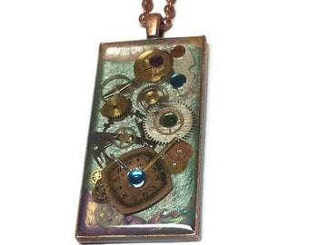 Pastel Steampunk Watch Gears Custom Pendant Necklace