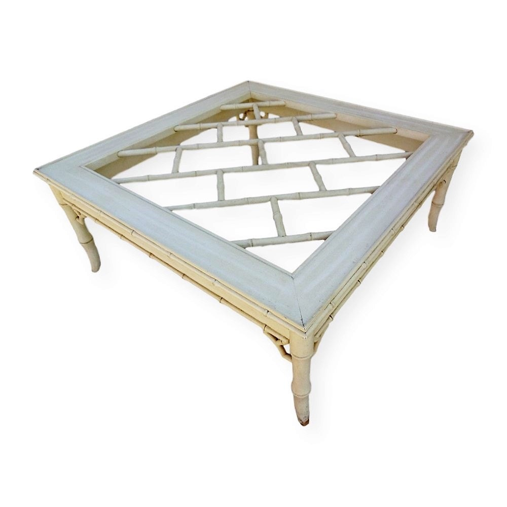 Vvh Vintage Chinese Chippendale Coffee Table Faux Bamboo