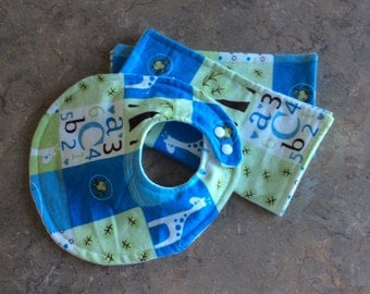 CLEARANCE -3 Piece Baby bib and Wipes set. Ready to ship.
