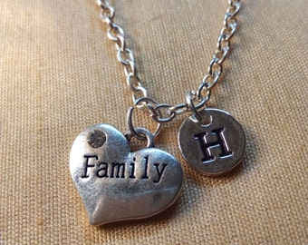 Family Heart Necklace, Family Necklace, Family Jewelry, Thanksgiving Gift, Gift for Family, Double Sided Family Heart Necklace