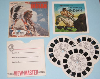 Vintage 1957-58 SAWYERS View Master - The American Indian Packet No. B725 Complete Set (Story Booklet & 3 Reels with Sleeve)