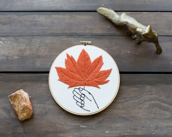 Embroidery Hoop Art - Large Fall Maple Leaf with Hand Embroidery Art in 7-inch Hoop - Autumn - Halloween Decor