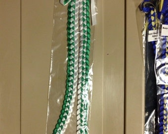 Green and White Ribbon Lei