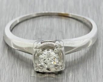 Antique Art Deco 14k White Gold .25ct G SI2 Solitaire Diamond Engagement Ring