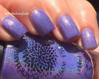 Neon Iris Purple Jelly Holo Nail Polish Black Dahlia Lacquer - Lavender Bellflowers