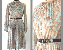 Vintage 70s Tea Dress Floral Dress Boho Pleated Wiggle Dress Wedding Party Day Evening 14